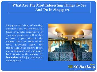 What are the most interesting things to see and do in Singap