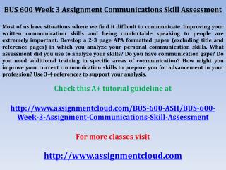 BUS 600 Week 3 Assignment Communications Skill Assessment