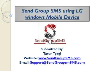 Send Group SMS using LG windows Mobile Device