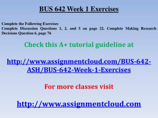 BUS 642 Week 1 Exercises