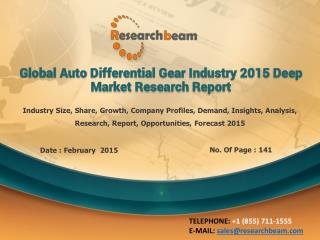 Global Auto Differential Gear Industry Growth, Demand, 2015