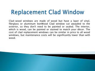 Replacement Clad Window