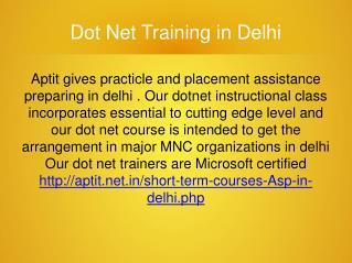Dot Net Classes in Delhi