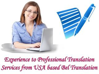 Experience to Professional Translation Services