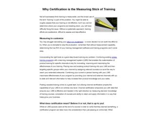 Why Certification is the Measuring Stick of Training
