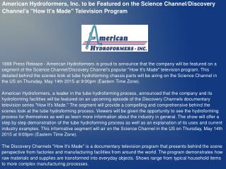 American Hydroformers, Inc. to be Featured on the Science