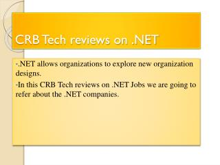 Reviews on .NET By CRB TECH