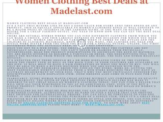 Women Clothing Best Deals at Madelast.com