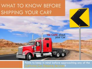What To Know Before Shipping Your Car?