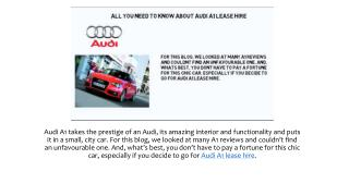 All You Need To Know About Audi A1 Lease Hire