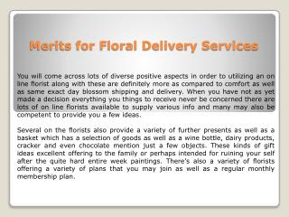 Merits for Floral Delivery Services