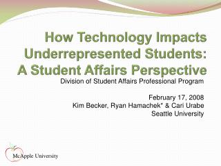 How Technology Impacts Underrepresented Students: A Student Affairs Perspective