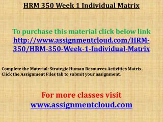 HRM 350 Week 1 Individual Matrix