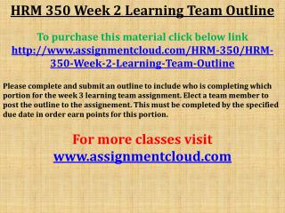 HRM 350 Week 2 Learning Team Outline