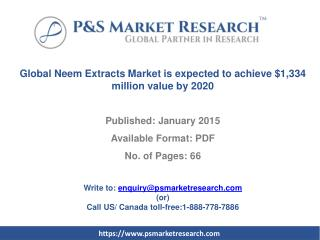Global Neem Extracts Market is expected to achieve $1,334 mi
