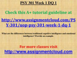 PSY 301 Week 1 DQ 1