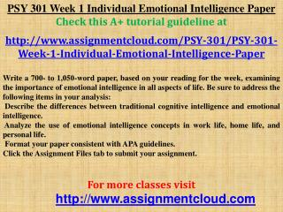 PSY 301 Week 1 Individual Emotional Intelligence Paper