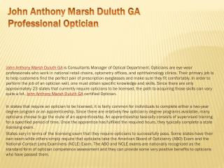 John Anthony Marsh Duluth GA Professional Optician