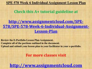 SPE 578 Week 6 Individual Assignment Lesson Plan