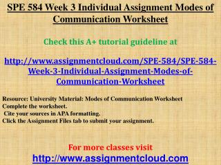 SPE 584 Week 3 Individual Assignment Modes of Communication