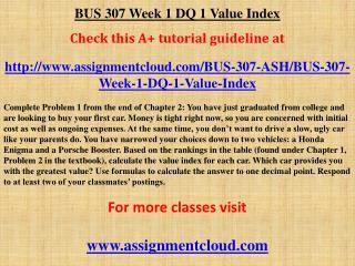 BUS 307 Week 1 DQ 1 Value Index