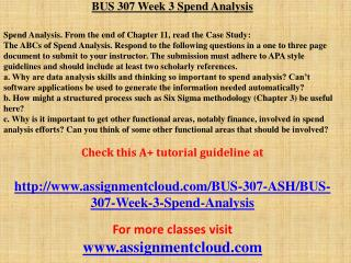 BUS 307 Week 3 Spend Analysis