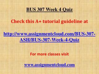 BUS 307 Week 4 Quiz