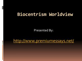 Biocentrism Worldview