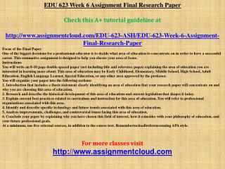 EDU 623 Week 6 Assignment Final Research Paper