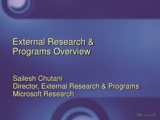External Research &  Programs Overview