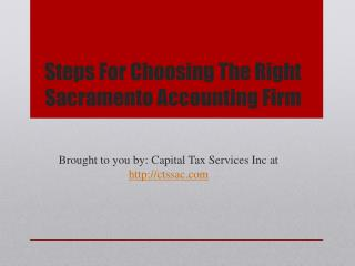 Steps For Choosing The Right Sacramento Accounting Firm