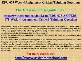 EDU 675 Week 4 Assignment Critical Thinking Questions