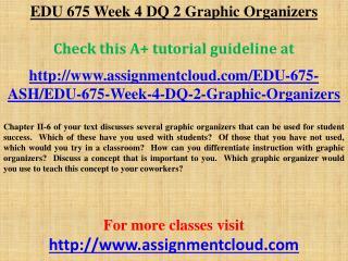 EDU 675 Week 4 DQ 2 Graphic Organizers