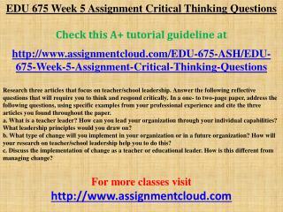 EDU 675 Week 5 Assignment Critical Thinking Questions