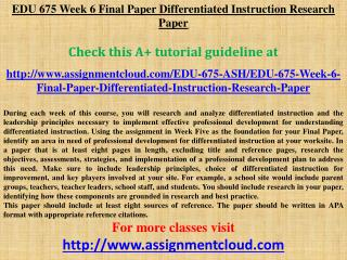 EDU 675 Week 6 Final Paper Differentiated Instruction Resear