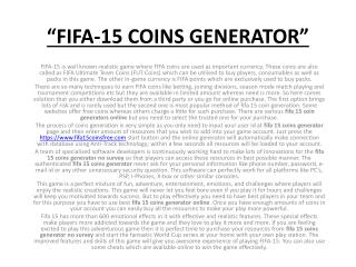 FIFA 15 Ultimate Team Coin Generator