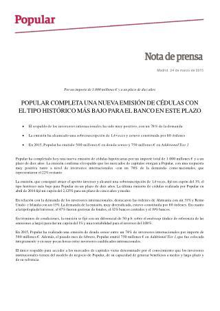 Ángel Ron y el Popular completan una nueva emisión de cédula