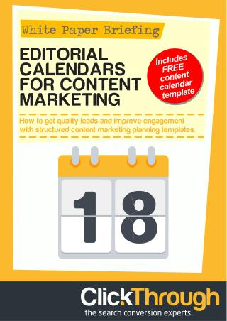 Editorial Calendars for Content Marketing