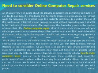 Need to consider Online Computer Repair services