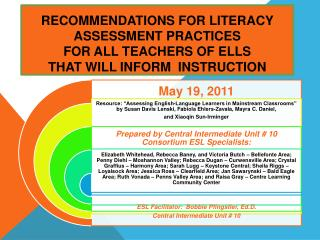 Recommendations for Literacy Assessment Practices  for ALL Teachers of ELLS  That Will Inform  Instruction