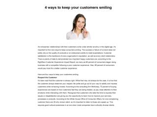 4 Ways to Keep Your Customers Smiling