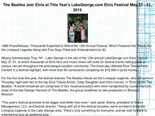 The Beatles Join Elvis at This Year's LakeGeorge.com Elvis