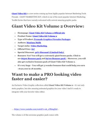 Giant Video Kit 2 review in detail and massive bonuses inclu
