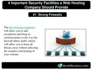 4 important security facilities a web hosting company should