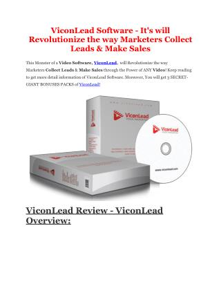 ViconLead full features review and giant bonuses bundle