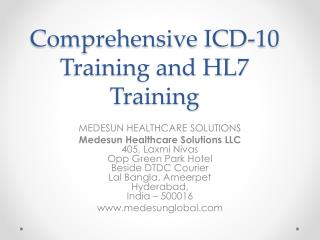 ICD-10 training and HL7 in India and hyderabad