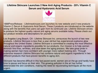 Lifetime Skincare Launches 2 New Anti Aging Products