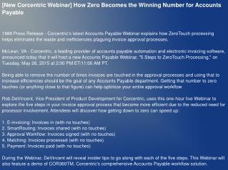 [New Corcentric Webinar] How Zero Becomes the Winning Number