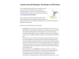 Trainers and L&D Managers: Get Ready to LEAP Ahead