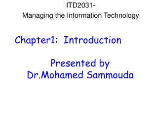 ITD2031- Managing the Information Technology